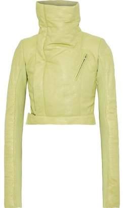 Rick Owens Cropped Coated-leather Biker Jacket