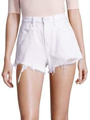 Alexander Wang T by Denim x Bite High-Rise Frayed Hem Denim Shorts