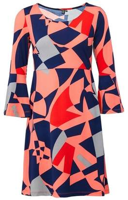 Dorothy Perkins Womens *Izabel London Coral Geometric Print Shift Dress, Coral