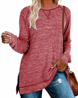 Yidarton Women's Sweatshirts Casual Loose Long Sleeve Tops Crewneck T-Shirt Side Split Tunic Pullover Jumper Tops (551-Red Medium)