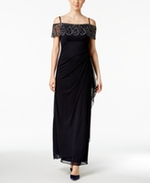 Xscape Evenings Petite Embellished Off-The-Shoulder Gown