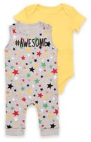 Baby Starters #Awesome Puff Print Overall and Bodysuit Set in Yellow/Grey