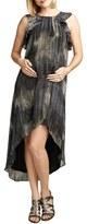 Maternal America Women's Ruffle Chiffon High/low Maternity Dress