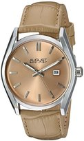 August Steiner Women's Silver-Tone Case with Champagne Dial and Alligator Embossed Genuine Leather Beige Strap Watch AS8221BG
