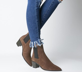 Office Autumn Smart Western Boots Brown Suede