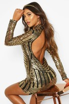 boohoo Boutique Jo Sequin and Mesh Bodycon Dress