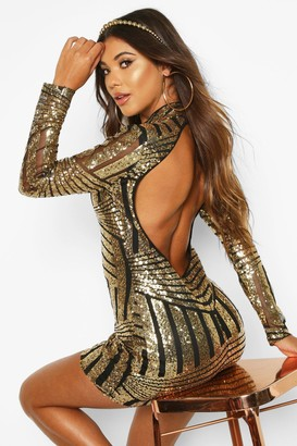 boohoo Boutique Sequin and Mesh Bodycon Dress