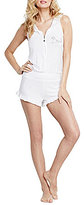 Betsey Johnson Blue by Rhinestone Bride Hooded Ruffled French Terry Romper