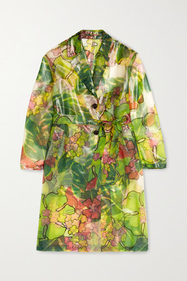 Dries Van Noten Belted Floral-print Pvc Trench Coat - Green