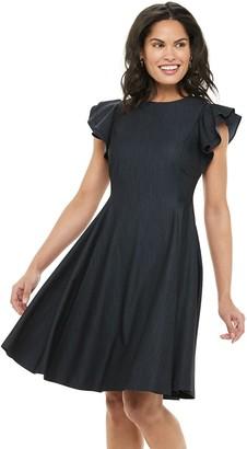 Chaps Women's Flutter Sleeve A-Line Dress