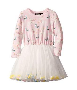 Rock Your Baby Unicorn Ribbons Long Sleeve Circus Dress (Toddler/Little Kids/Big Kids) (Pink) Girl's Dress