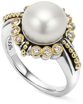 Lagos Sterling Silver and 18K Gold Cultured Freshwater Pearl Ring with Diamonds