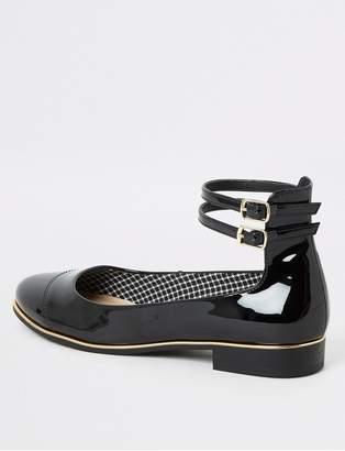 River Island Patent Ankle Strap Ballet Shoes - Black