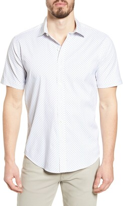 Bugatchi Shaped Fit Short Sleeve Button-Up Performance Shirt