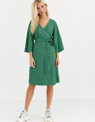Kaffe printed wrap dress with kimono sleeves-Multi