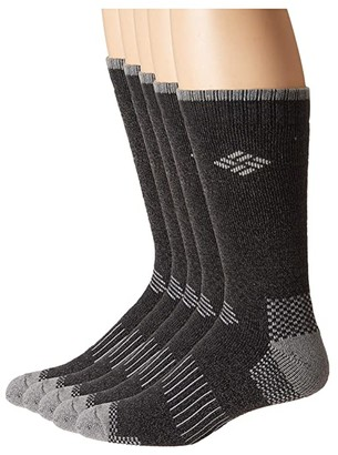 Columbia 8-Pack Cushioned Moisture Control Boot Socks (Khaki/Brown/Navy/Black) Men's Crew Cut Socks Shoes