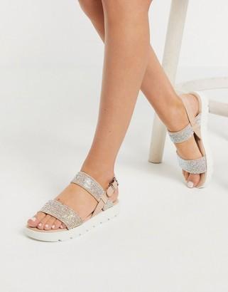 Aldo Dwylia chunky sole flat sandal in rhinestone