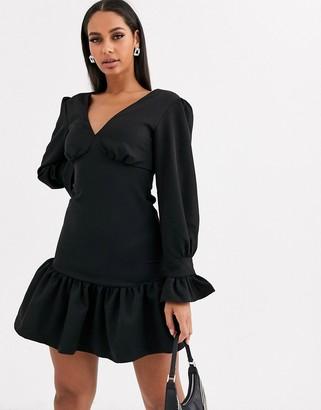 Koco & K fluted hem long sleeve skater dress in black