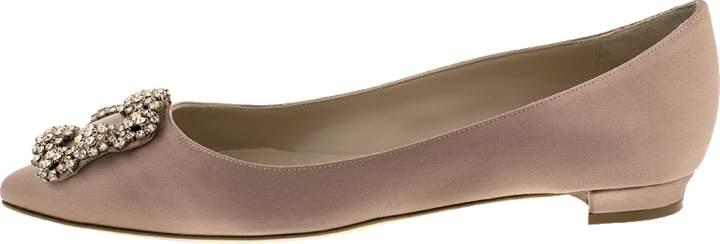 Manolo Blahnik Jewel Toe Satin Flat Shoe