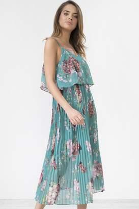 Urban Touch Green Floral Print Pleated Cami Midi Dress