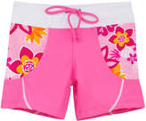 Tuga Sunwear Girls' Swim Briefs Taffy - Taffy Pink Floral Pineapple Swim Shorts - Infant, Toddler & Girls