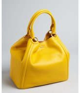Miu Miu Miu goldenrod pebbled leather medium tote