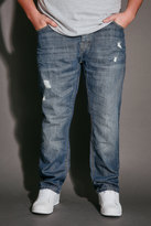 Yours Clothing BadRhino Mid Blue Rip & Repair Denim Tapered Jeans