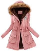 SODIAL(R) Women Hooded Fur Winter Thick Padded Long Coat Outerwear Jacket-S
