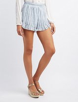 Charlotte Russe Striped Ruffle-Trim Shorts