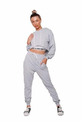 janisramone Womens Tracksuit Love Tape Vest Top Crop Hoodie Joggers Trouser Ladies Co-ords 3 Pcs Sports Set Grey