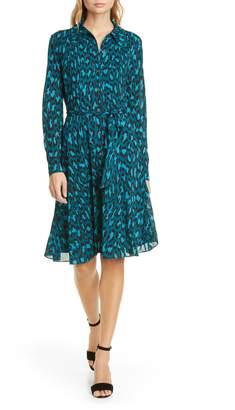 Diane von Furstenberg Dory Leopard Long Sleeve Shirtdress