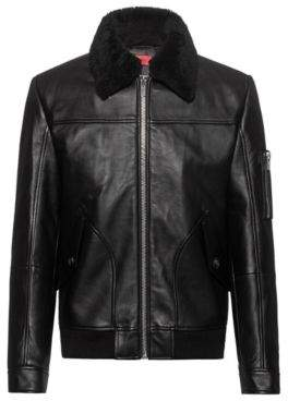 HUGO Padded-leather bomber jacket with shearling collar