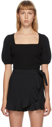 RED Valentino Black Balloon Sleeve Sweater