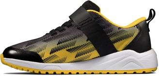 Clarks KidAeon Pace Lace Trainer - Black/Yellow
