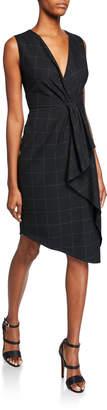 Elie Tahari Adrianne V-Neck Sleeveless Asymmetric Grid Dress w/ Flounce Detail
