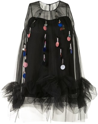 DELPOZO Sequin-Tassel Sleeveless Tulle Top