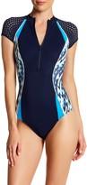 Jets Racer Cap Sleeve Zip Swimsuit