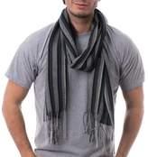 Alpaca Blend Men's Scarf in Pearl Grey and Black from Peru, 'Dark Style'