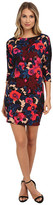 Donna Morgan 3/4 Sleeve Printed Scuba Wedge Dress