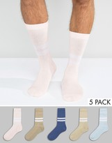 Asos Sports Style Socks In Pastels 5 Pack