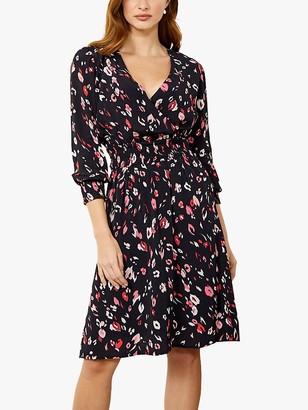 Sosandar Floral Wrap Dress, Black