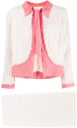 Chanel Pre Owned Woven Check Skirt Suit