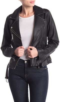 Love Token Faux Leather Studded Jacket