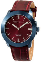 Perry Ellis Unisex Slim Line Burgundy Leather Watch