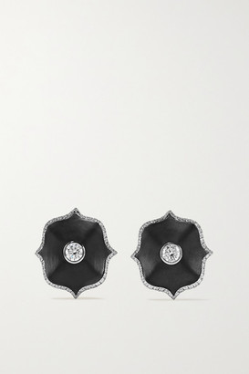 Bayco Platinum, Diamond And Ceramic Earrings - Black