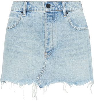 Alexander Wang Distressed Faded Denim Mini Skirt