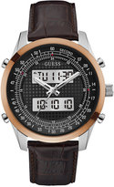 GUESS Men's Analog-Digital Rogue Brown Leather Strap Watch 45mm U0861G1
