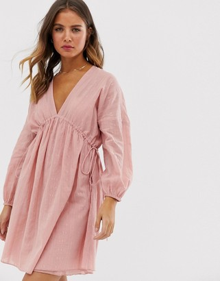 Asos Design DESIGN v front v back mini smock dress in texture with long sleeves-Pink