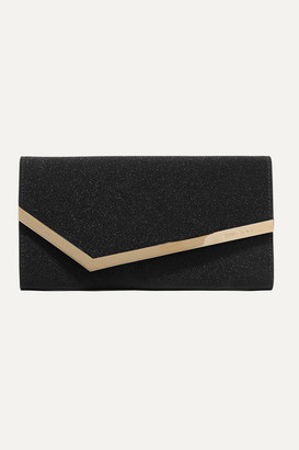 Jimmy Choo Emmie Glittered Leather Clutch - Black