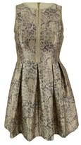Vince Camuto Women's Keyhole Metallic Flared Dress (12, Gold)
